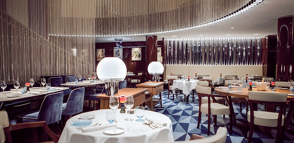 Rivea Restaurant at the fashionable and luxurious stay at Bulgari Hotel London