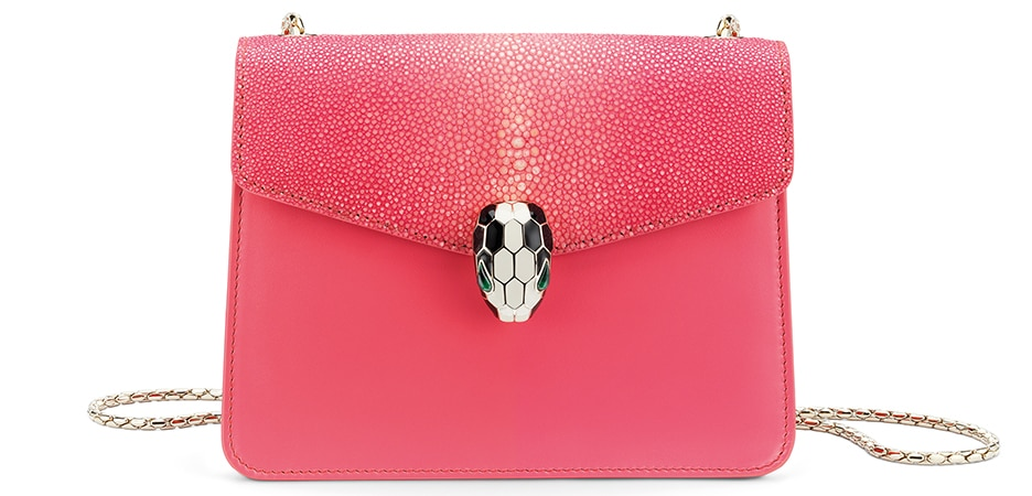 Bulgari Serpenti Forever flap cover bag in reef coral galuchat skin and calf leather.
