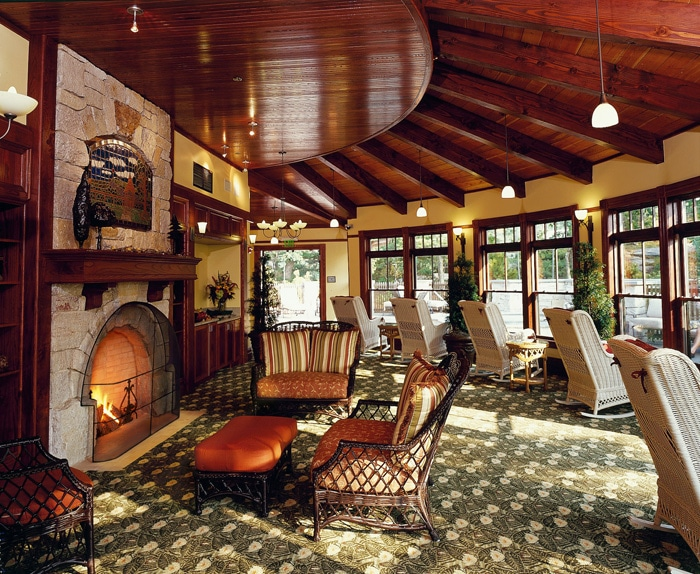 Solarium with Stone Fireplace in The Spa at Mohonk Mountain House - Jim Smith Photography
