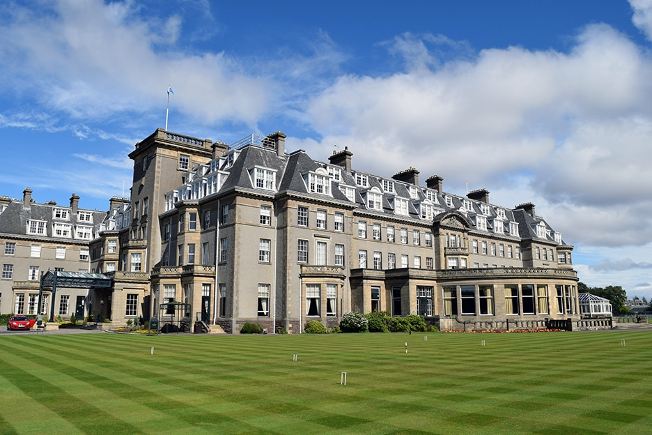 Gleneagles front lawn set up for Croquet featured in Upscale Living Magazine