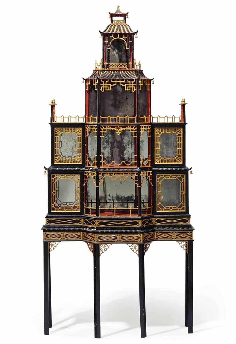 A George II Black, Gilt and Red-Painted Pagoda Form Display Cabinet