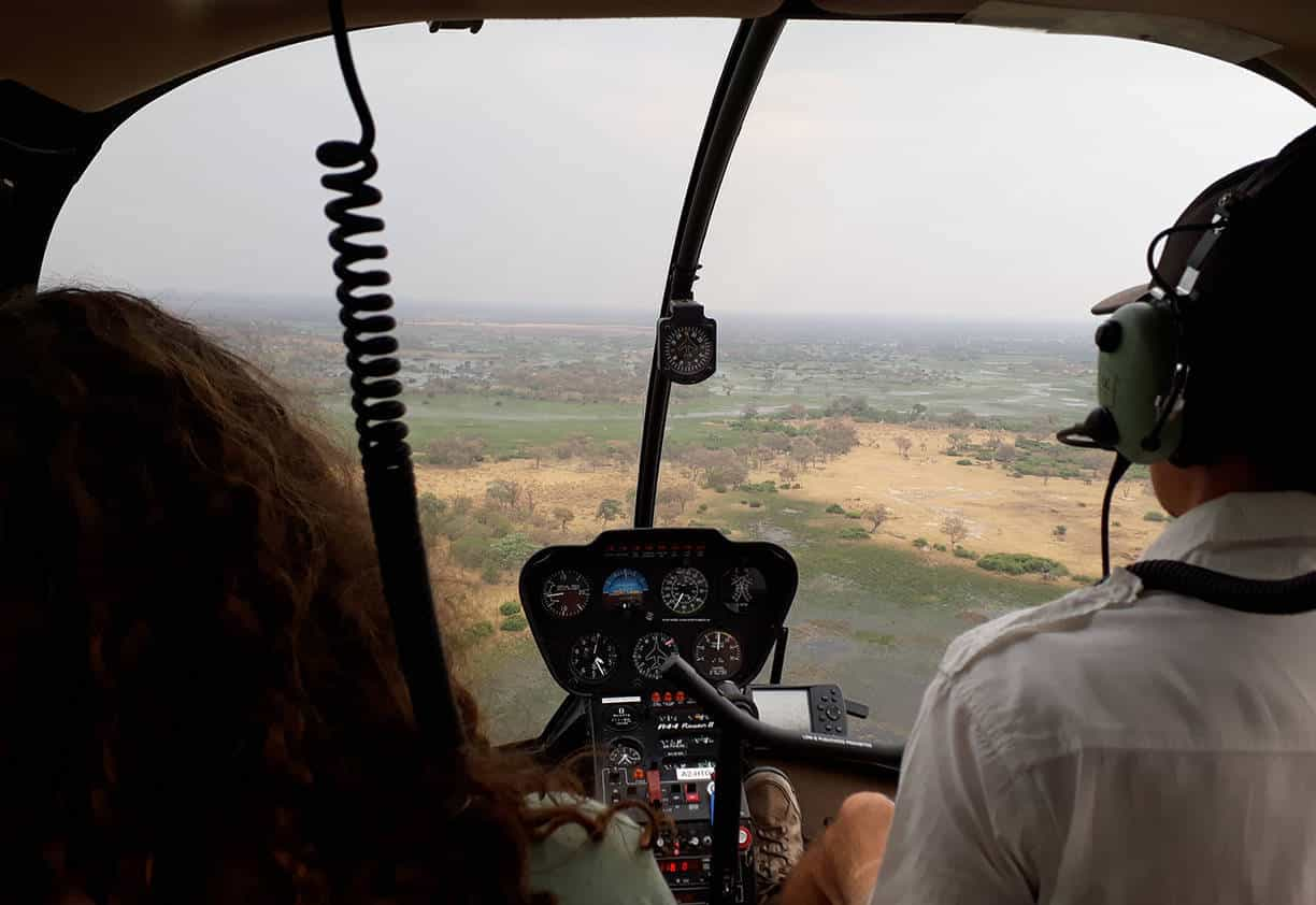 Helicopter Horizons pilot Sam Brady ensures that we have a birds-eye view of the landscape en route to The Lodge at Feline Fields.