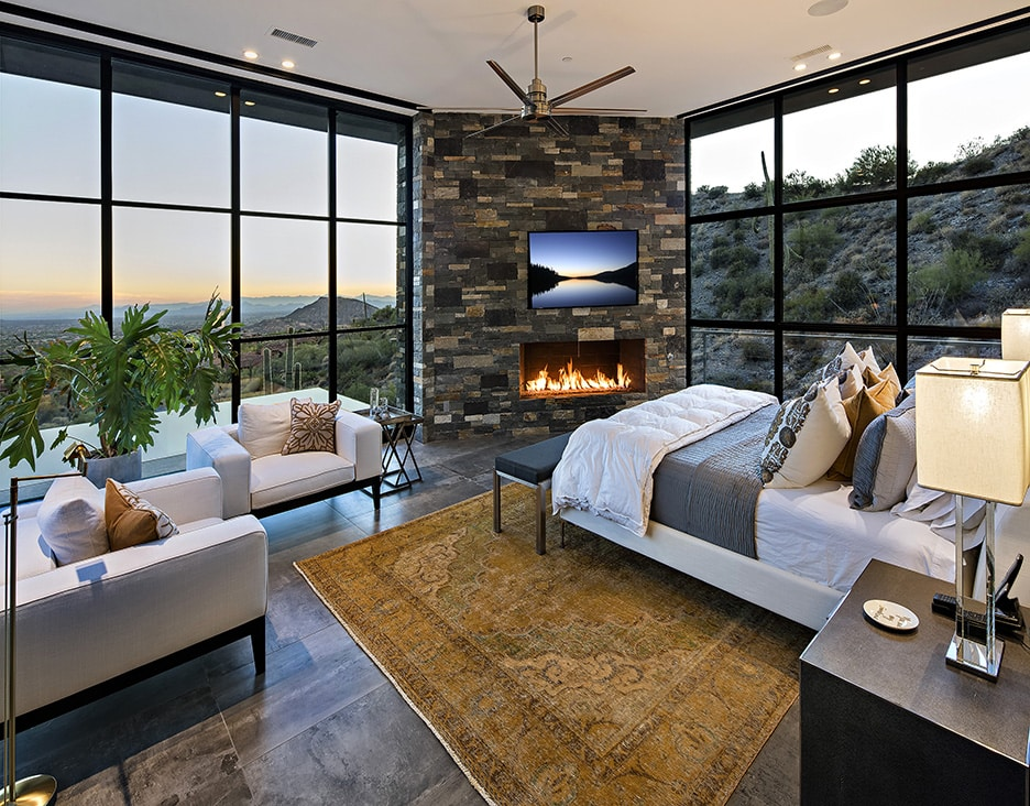 Master suite at Living room view at Lap pool at Floating stairway at Saguaro Forest 244 luxury real estate listing
