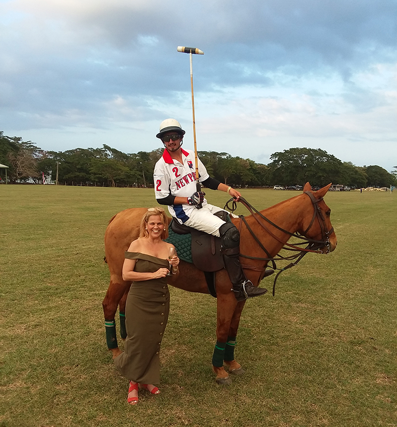 Me with one of the RI Newport International Polo Players. Hanover Charities/Chukka Foundation Polo Match at Sandy Beach