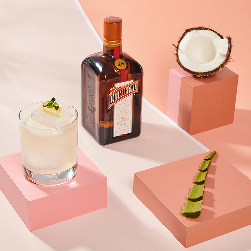 Cointreau Coconut Ginger Margarita Square with Bottle