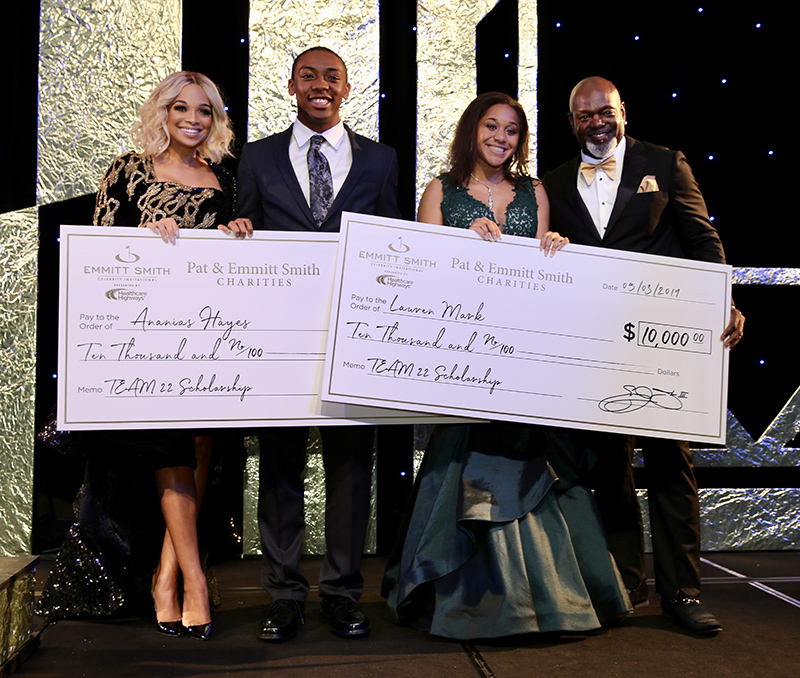 Ananias Hayes and Lauren Marks receive scholarships from Pat and Emmitt Smith