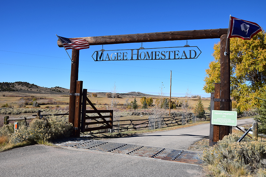 The entrance to Magee Homestead.
