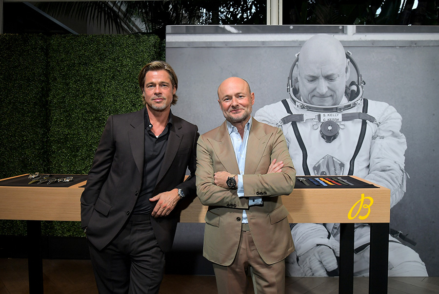 Brat Pitt and Breitling CEO, Georges Kern pose for photo during the Breitling Summit in Los Angeles, California. (Photo by Charley Gallay/Getty Images for Breitling)