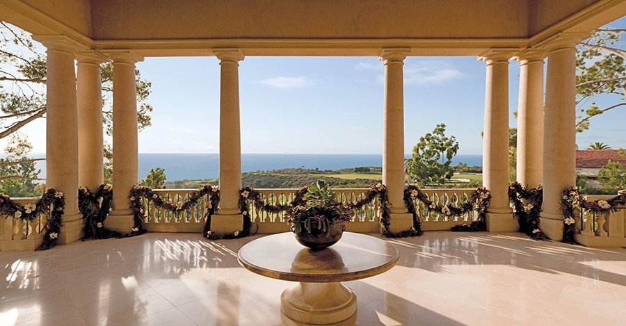 Pelican Hill Portico with Holiday Decor