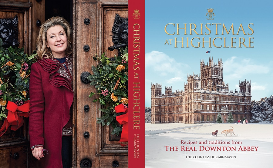 The countess of Carnarvon at Highclere Castle and the Christmas Book she wrote