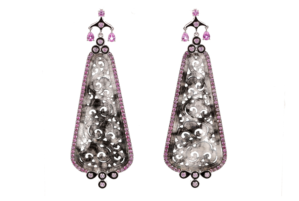 Carved Pink and Jade Sapphire Earrings