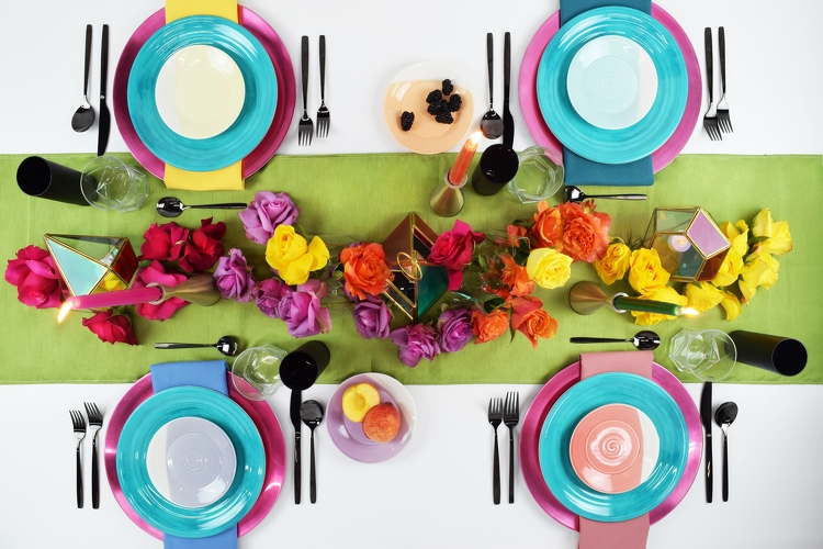 In living color! This prismatic reflection of rainbow saturated tints packs a powerful tablescape punch. Inspired by viewing life through a kaleidoscopic lens, we hope this colorful hosting, brings joy to you and your guests.