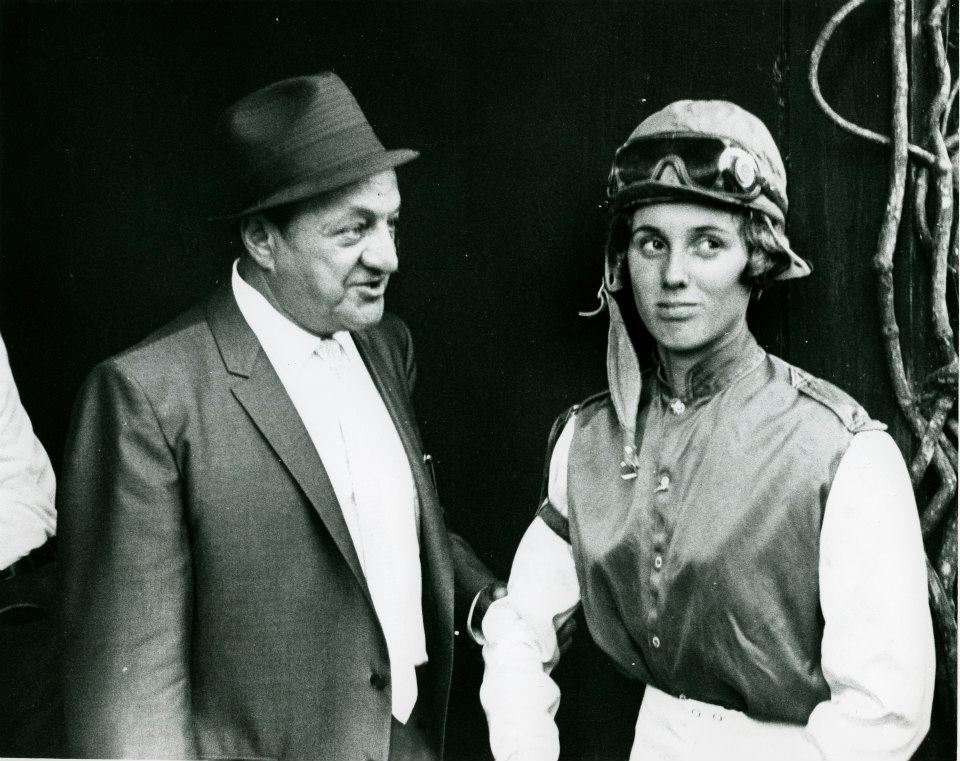 Jockey Diane Crump with T. Calumet at Hialeah Race Course, circa 1969. Photo by Jim Raftery -Turfotos. Photo from Thoroughbred Times Files, Keeneland Library.