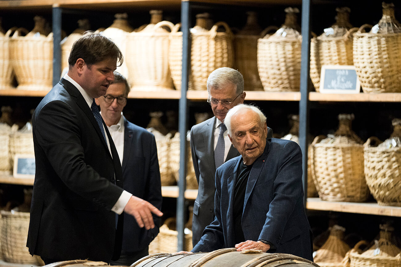 Frank Gehry with Renaud Fillioux de Gironde at Hennessy