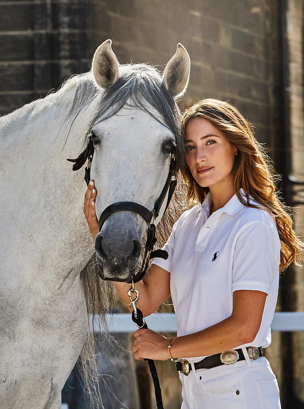 Jessica Springsteen with her white horse