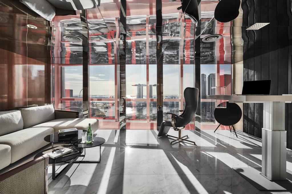Office cube mirrored designed by Elliot James Interiors