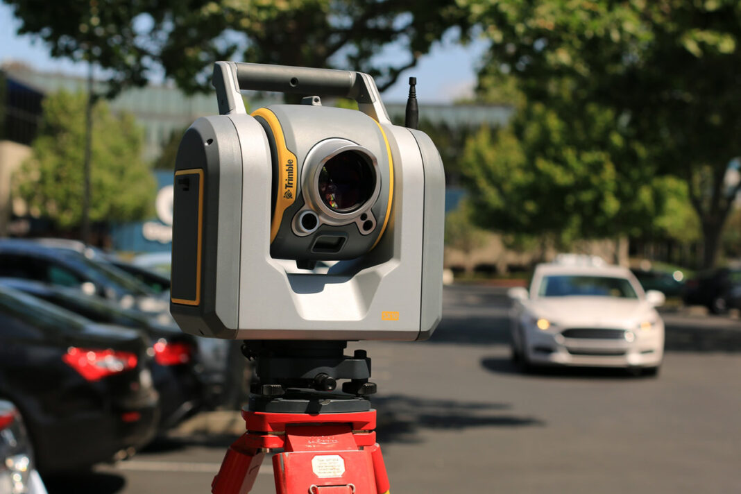 3d Laser Scanner placed on the street