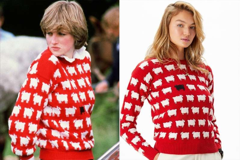 Diana sheep sweater then and now