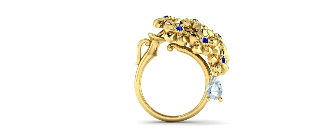 Mondselle, Hope ring with blue sapphires set in 18k gold, Hope collection.