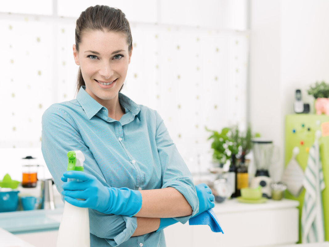 housewife cleaning house