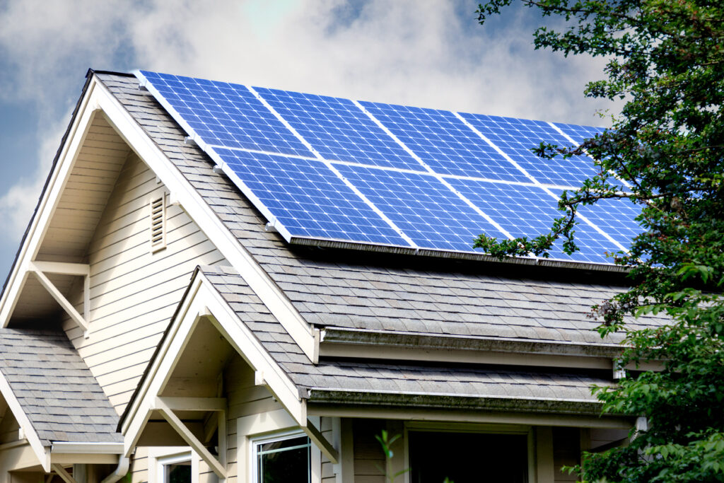 Solar Panels on Roof of an eco-home