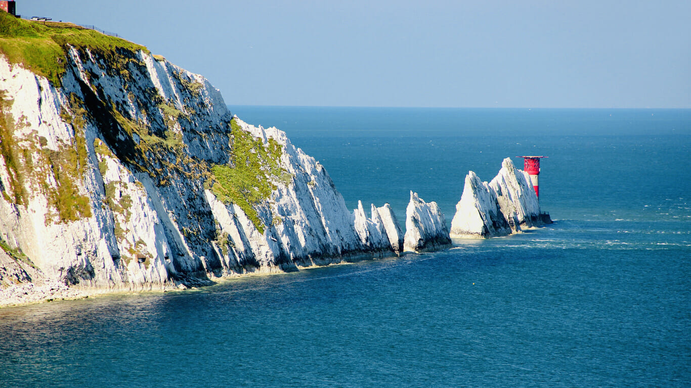 A glorious winter view of The Needles on the Isle of Wight.