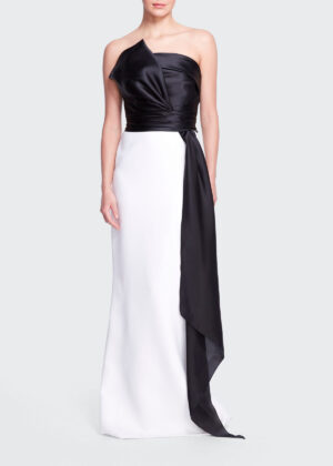 Bergdorf Goodman Colorblock Strapless silk gown with bow sash - Link ID 18683267866