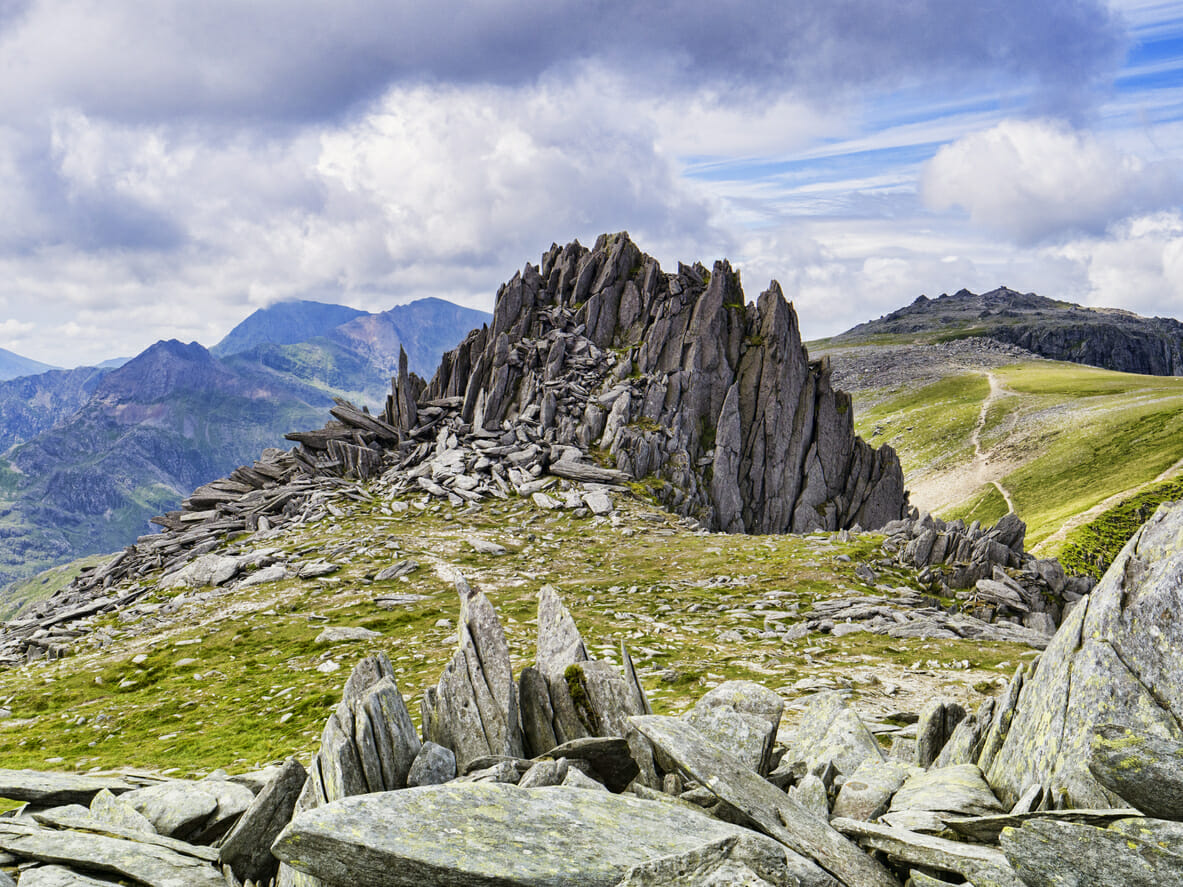 Castle of the Winds, Castell y Gwynt, the famous summit on the Glyders ridge, Snowdonia National Park, North Wales, UK.