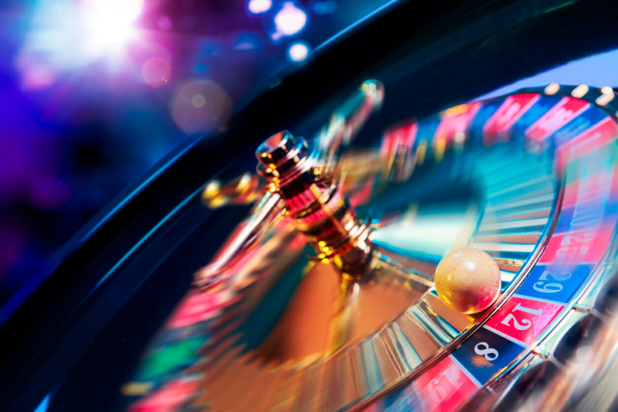 Roulette wheel in motion at a high roller casino