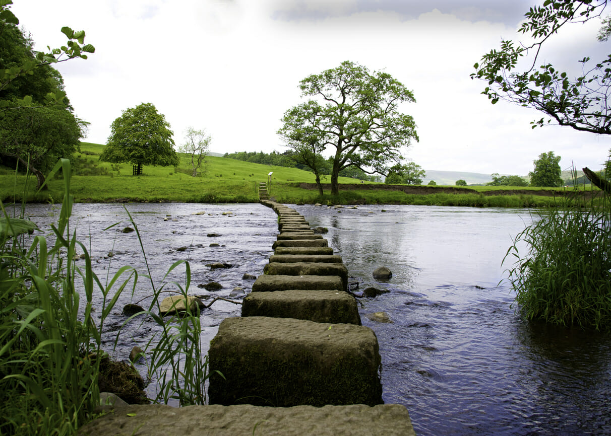 Stepping Stones across the River Hodder in the Forest of Bowland near Clitheroe Lancashire.