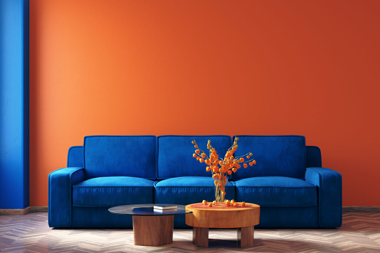 modern and home interior with comfortable sofa