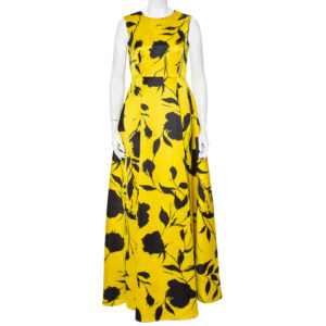 CH Carolina Herrera Yellow Blooming Floral Printed Satin Sleeveless Evening Gown M - Link ID 18759899900