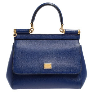 Dolce & Gabbana Blue Leather Small Miss Sicily Top Handle Bag - Link ID 18759899784
