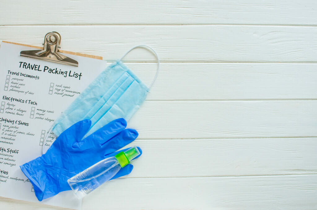 Protective glove, sanitizer bottle, face mask and travel packing list