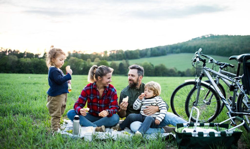family celebrating sobriety with a picnic