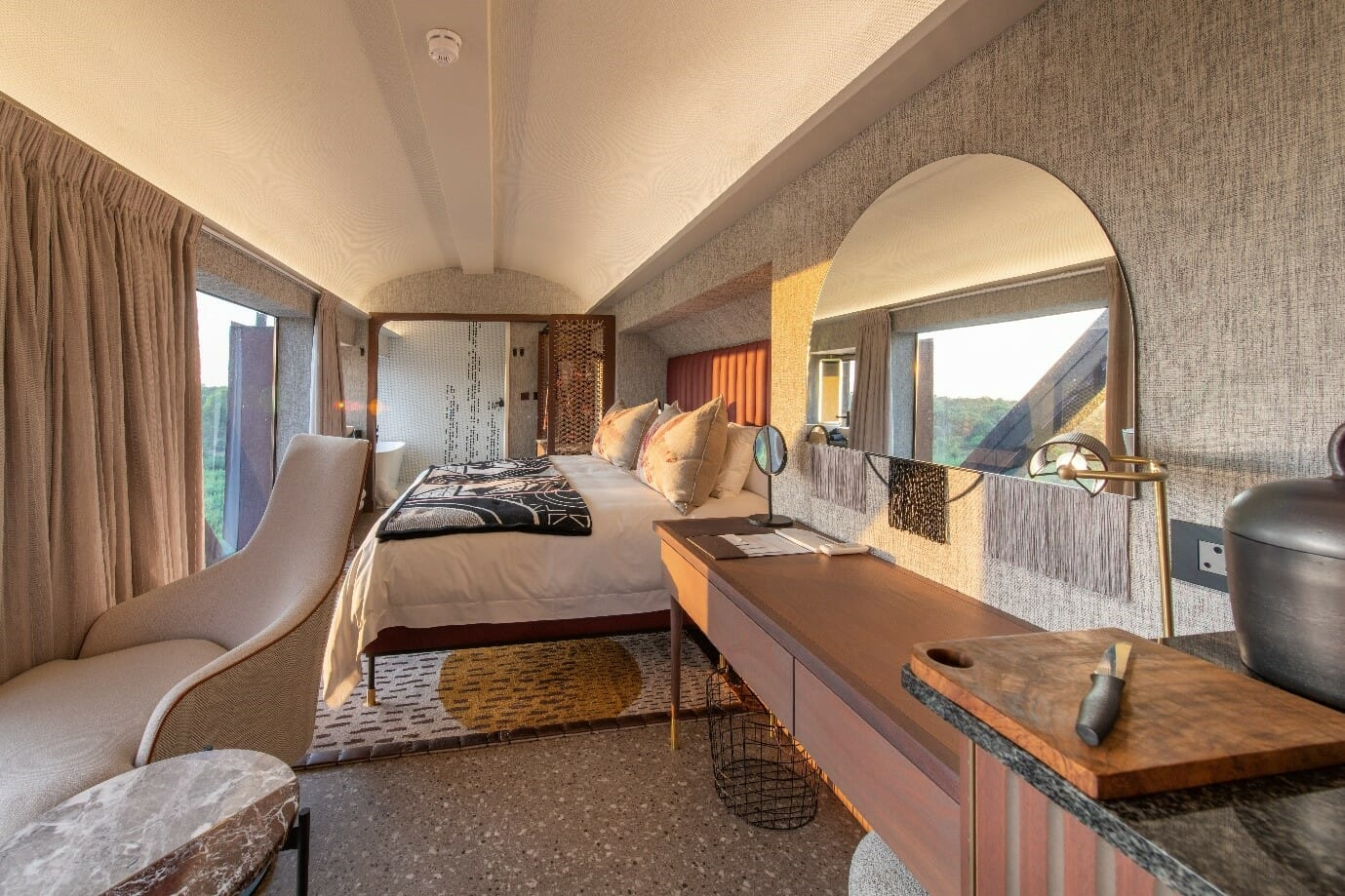 Beautiful train interiors by Andrea Kleinloog from HK Studio. Photo courtesy of Kruger Shalati / Kyle Lewin