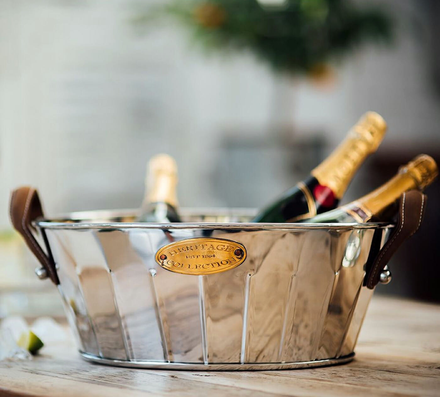 Heritage Leather Handled Champagne Bath, perfect for your outdoor bar