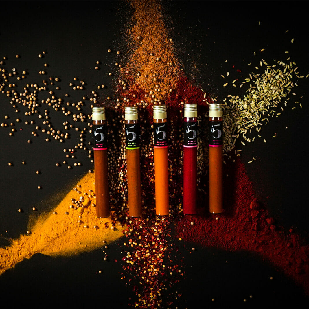 The Five Vials inside one of the Chilli No. 5 Gift Sets