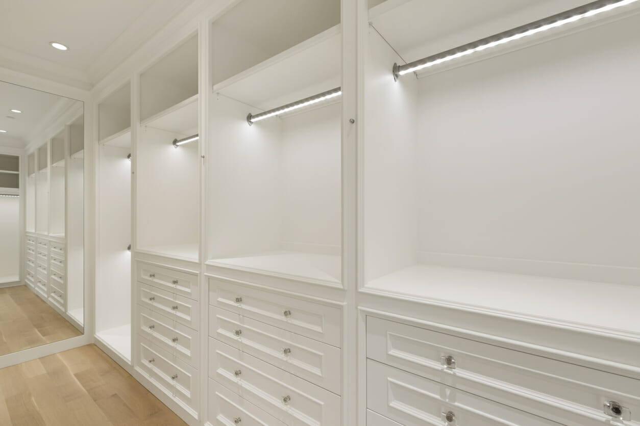 Bright lights in huge spacious closet