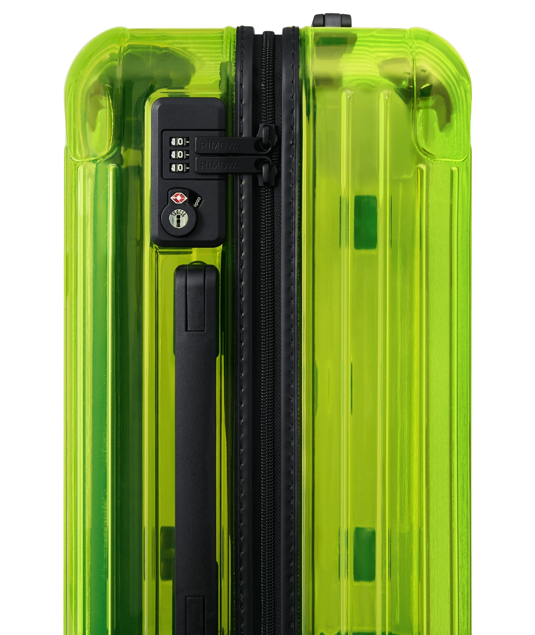 Essential Neon Lime RIMOWA travel suitcase collection