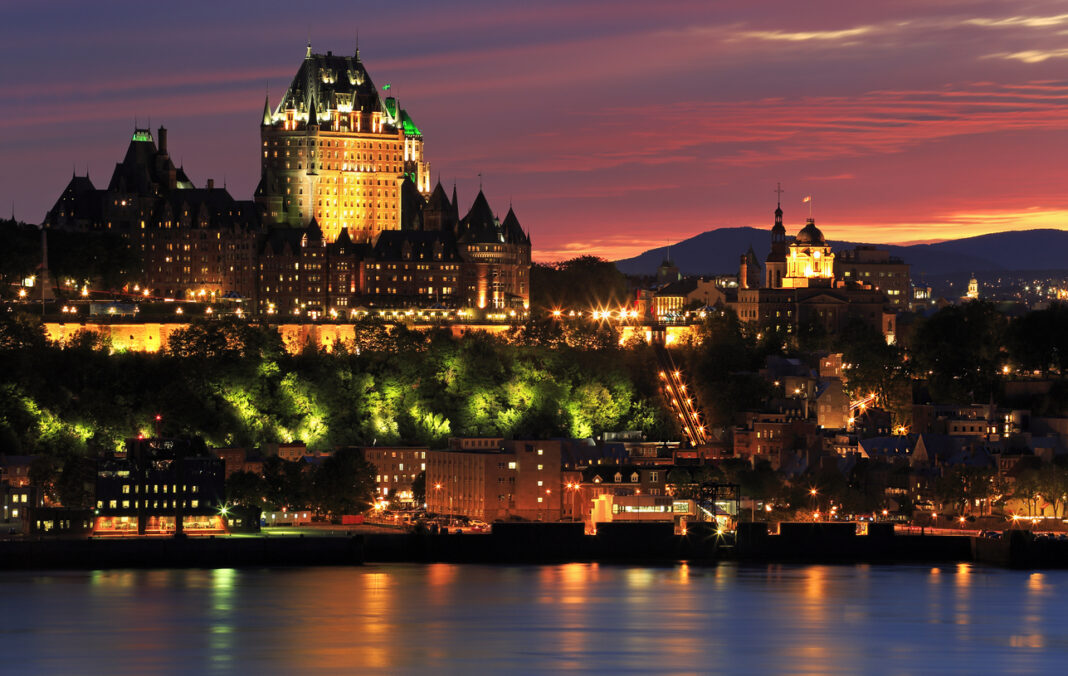 Quebec City skyline at dusk and Saint Lawrence River, Canada vacation