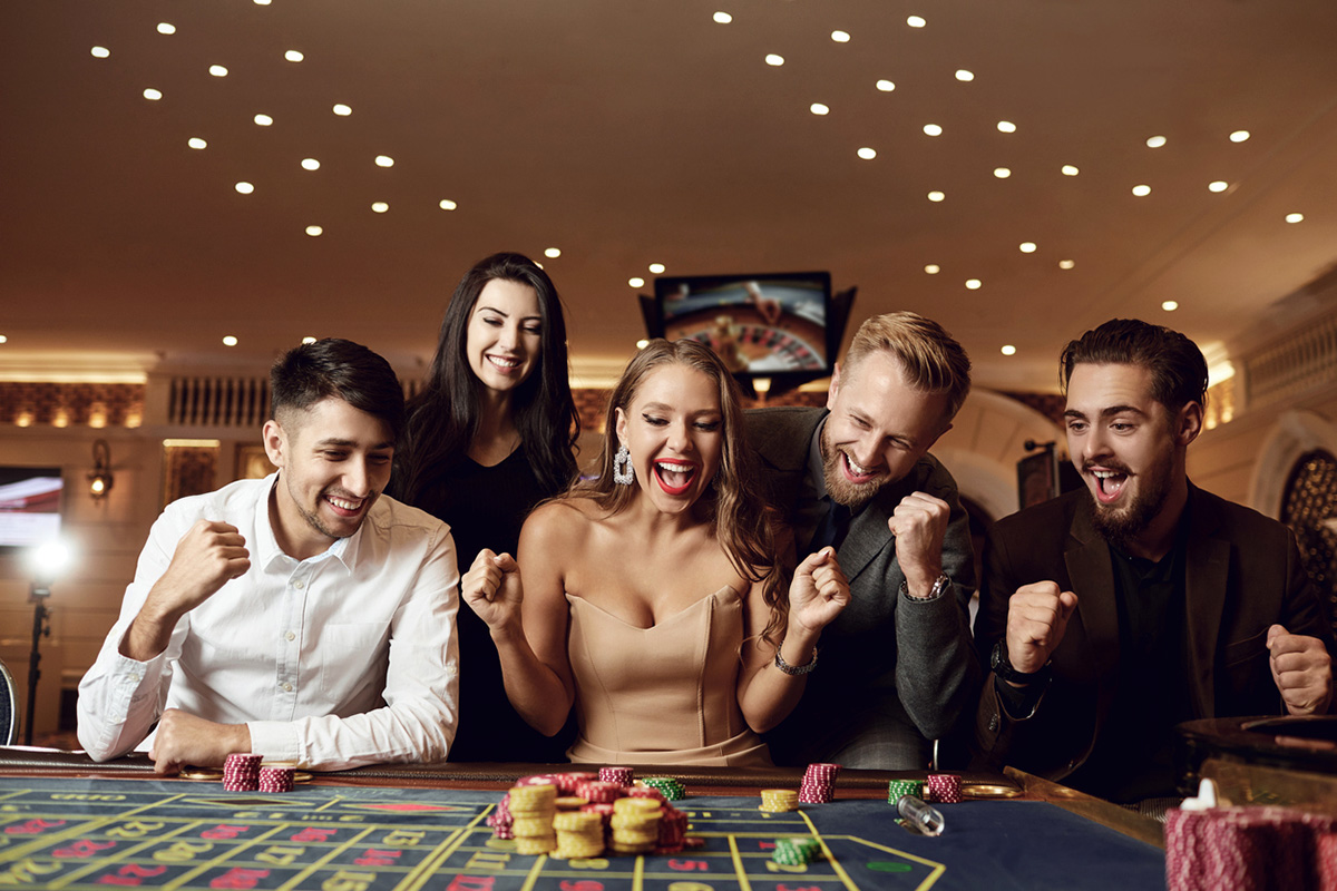 happy people playing at a high-end casino