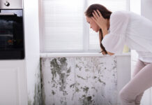 Woman Looking At Mold On Wall needs damp treatment